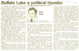 Buffalo Lake a political blunder