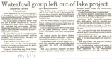 Waterfowl group left out of lake project
