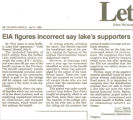 EIA figures incorrect say lake's supporters