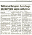 Tribunal begins hearings on Buffalo Lake scheme
