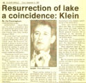 Resurrection of lake a coincidence: Klein