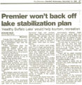 Premier won't back off lake stabilization plan
