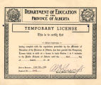 Temporary License to teach grades one to nine in the Pubic Schools of Alberta awarded to Albert...