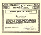 "Permanent Junior """"C"""" Certificate to teach grades one to nine in the Public..."