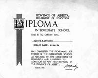 Intermediate school diploma awarded to Albert Karvonen, Hollow Lake, Alberta.