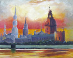 Riga Church Spires and Sunset