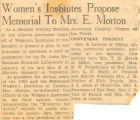 Women's Institutes Propose Memorial to Mrs. E. Morton